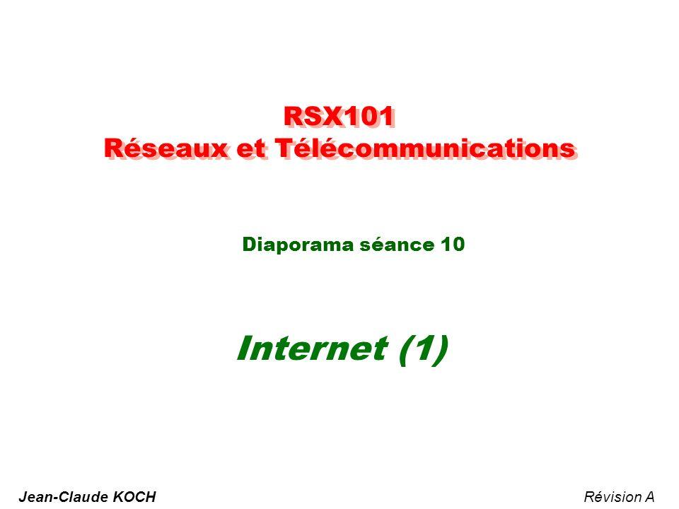 RSX101 Réseaux et Télécommunications Diaporama séance 10 Internet (1) Révision AJean-Claude KOCH