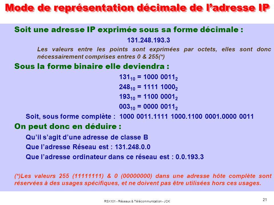 RSX101 - Réseaux & Télécommunication - JCK 21 Soit une adresse IP exprimée sous sa forme décimale : 131.248.193.3 Les valeurs entre les points sont exprimées par octets, elles sont donc nécessairement comprises entres 0 & 255(*) Sous la forme binaire elle deviendra : 131 10 = 1000 0011 2 248 10 = 1111 1000 2 193 10 = 1100 0001 2 003 10 = 0000 0011 2 Soit, sous forme complète : 1000 0011.1111 1000.1100 0001.0000 0011 On peut donc en déduire : Quil sagit dune adresse de classe B Que ladresse Réseau est : 131.248.0.0 Que ladresse ordinateur dans ce réseau est : 0.0.193.3 (*)Les valeurs 255 (11111111) & 0 (00000000) dans une adresse hôte complète sont réservées à des usages spécifiques, et ne doivent pas être utilisées hors ces usages.
