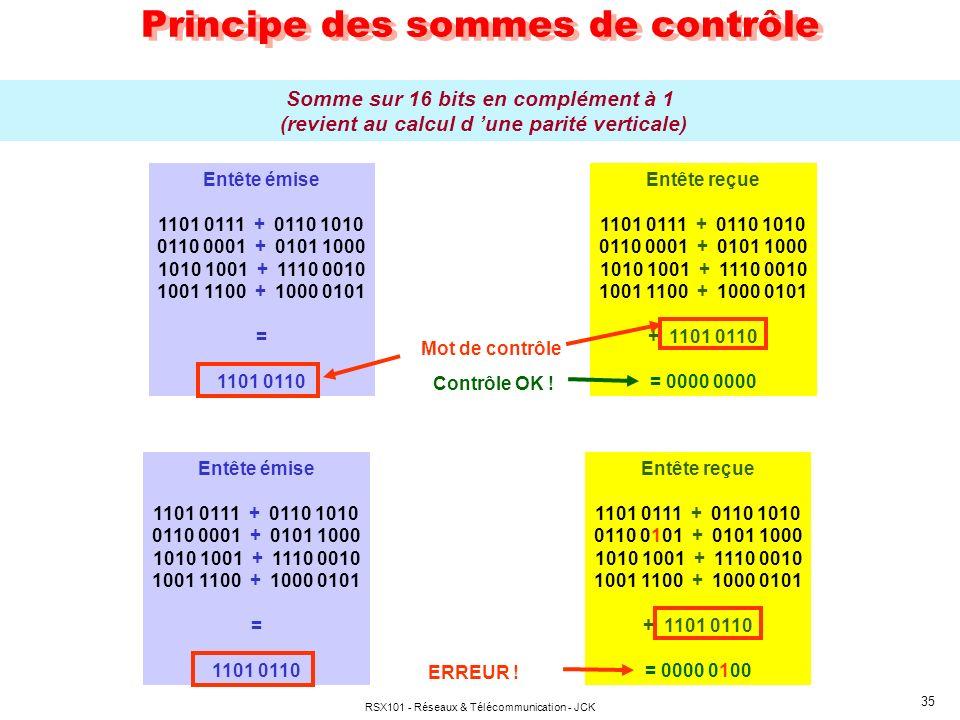 RSX101 - Réseaux & Télécommunication - JCK 35 Principe des sommes de contrôle Somme sur 16 bits en complément à 1 (revient au calcul d une parité vert