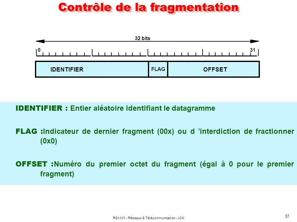 RSX101 - Réseaux & Télécommunication - JCK 37 Contrôle de la fragmentation IDENTIFIER : Entier aléatoire identifiant le datagramme FLAG : Indicateur de dernier fragment (00x) ou d interdiction de fractionner (0x0) OFFSET : Numéro du premier octet du fragment (égal à 0 pour le premier fragment) IDENTIFIER FLAG OFFSET 32 bits 031