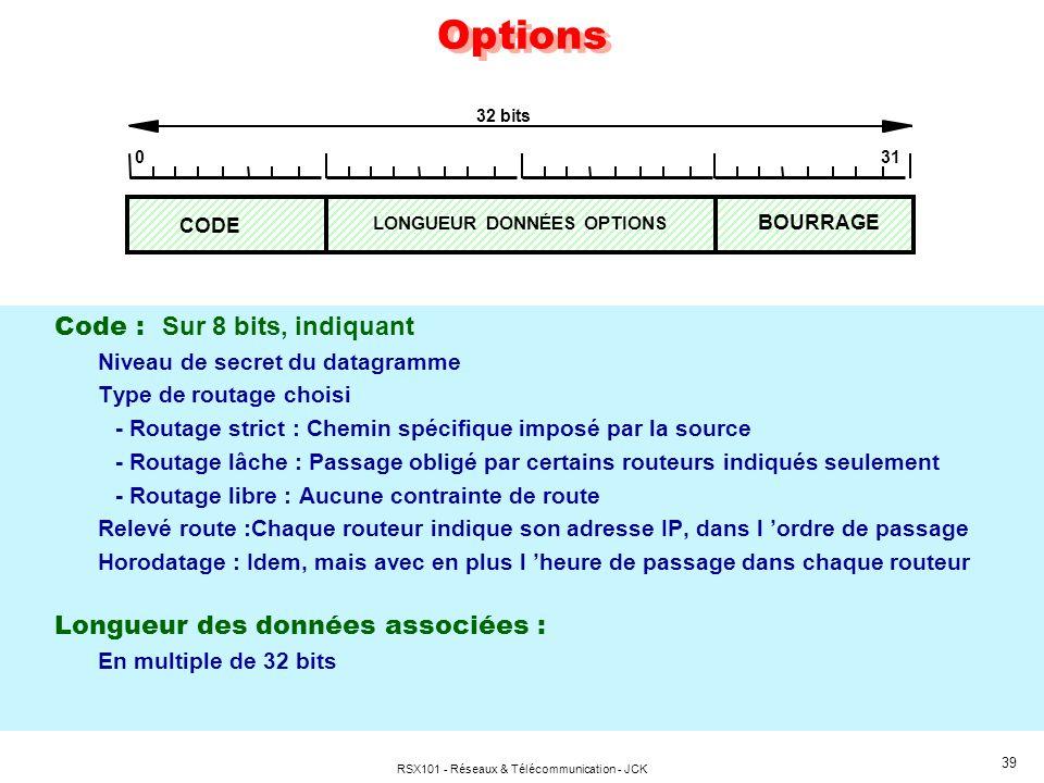 RSX101 - Réseaux & Télécommunication - JCK 39 Options Code : Sur 8 bits, indiquant Niveau de secret du datagramme Type de routage choisi - Routage str