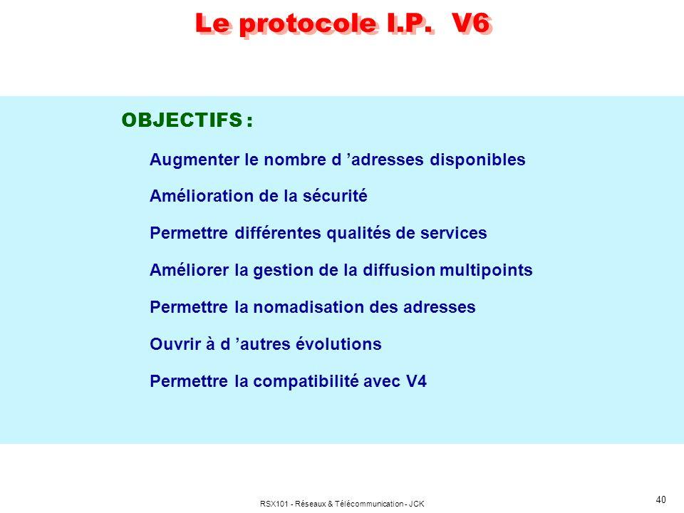 RSX101 - Réseaux & Télécommunication - JCK 40 Le protocole I.P. V6 OBJECTIFS : Augmenter le nombre d adresses disponibles Amélioration de la sécurité