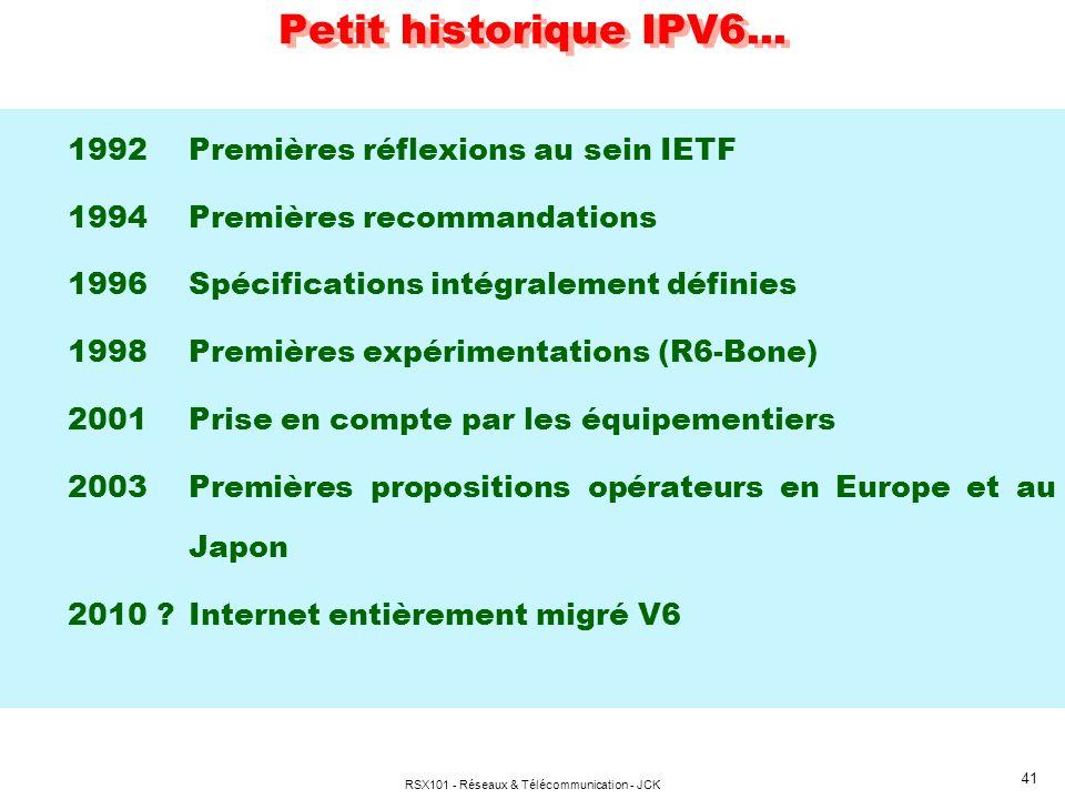 RSX101 - Réseaux & Télécommunication - JCK 41 Petit historique IPV6... 1992Premières réflexions au sein IETF 1994Premières recommandations 1996Spécifi
