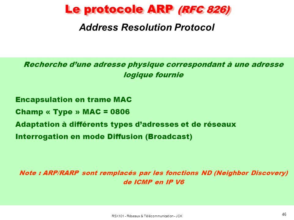 RSX101 - Réseaux & Télécommunication - JCK 46 Le protocole ARP (RFC 826) Recherche dune adresse physique correspondant à une adresse logique fournie Encapsulation en trame MAC Champ « Type » MAC = 0806 Adaptation à différents types dadresses et de réseaux Interrogation en mode Diffusion (Broadcast) Note : ARP/RARP sont remplacés par les fonctions ND (Neighbor Discovery) de ICMP en IP V6 Address Resolution Protocol