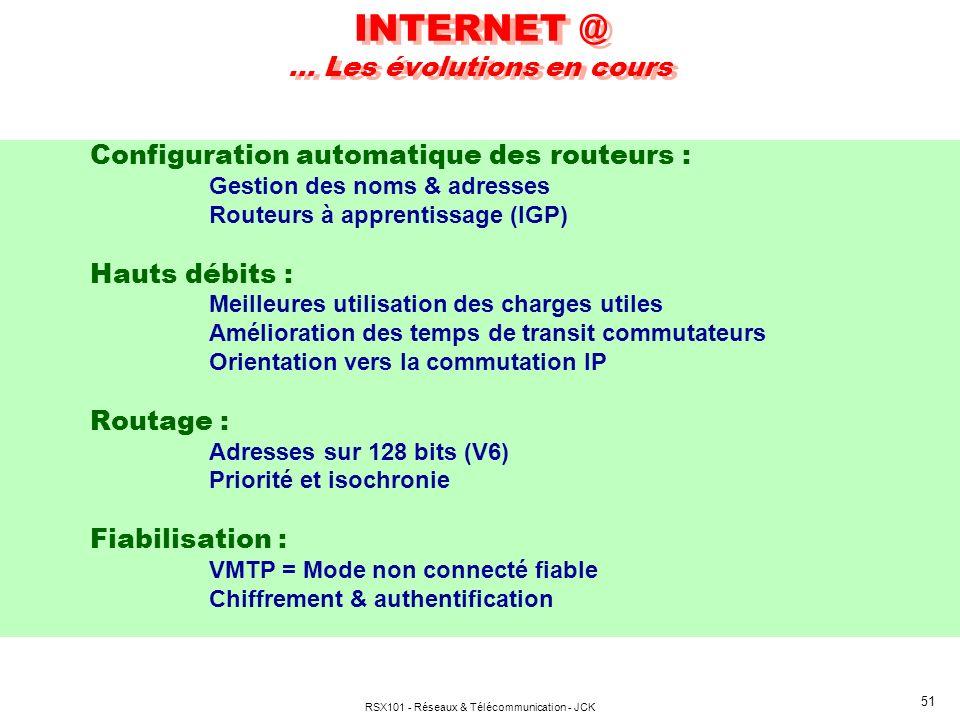 RSX101 - Réseaux & Télécommunication - JCK 51 INTERNET @ … Les évolutions en cours Configuration automatique des routeurs : Gestion des noms & adresses Routeurs à apprentissage (IGP) Hauts débits : Meilleures utilisation des charges utiles Amélioration des temps de transit commutateurs Orientation vers la commutation IP Routage : Adresses sur 128 bits (V6) Priorité et isochronie Fiabilisation : VMTP = Mode non connecté fiable Chiffrement & authentification