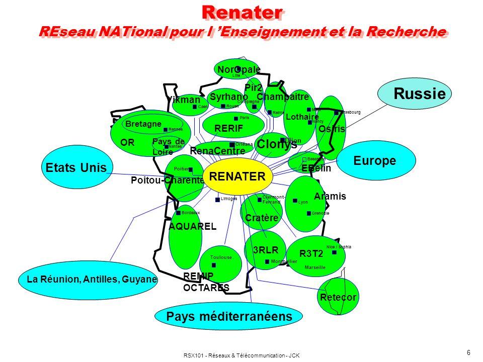 RSX101 - Réseaux & Télécommunication - JCK 6 Renater REseau NATional pour l Enseignement et la Recherche Russie NorOpale Vikman OR Aramis REMIP OCTARES R3T2 3RLR Reims Syrhano Caen Rouen Rennes Metz Nancy Strasbourg Poitiers Bordeaux Lyon Grenoble Paris Toulouse.