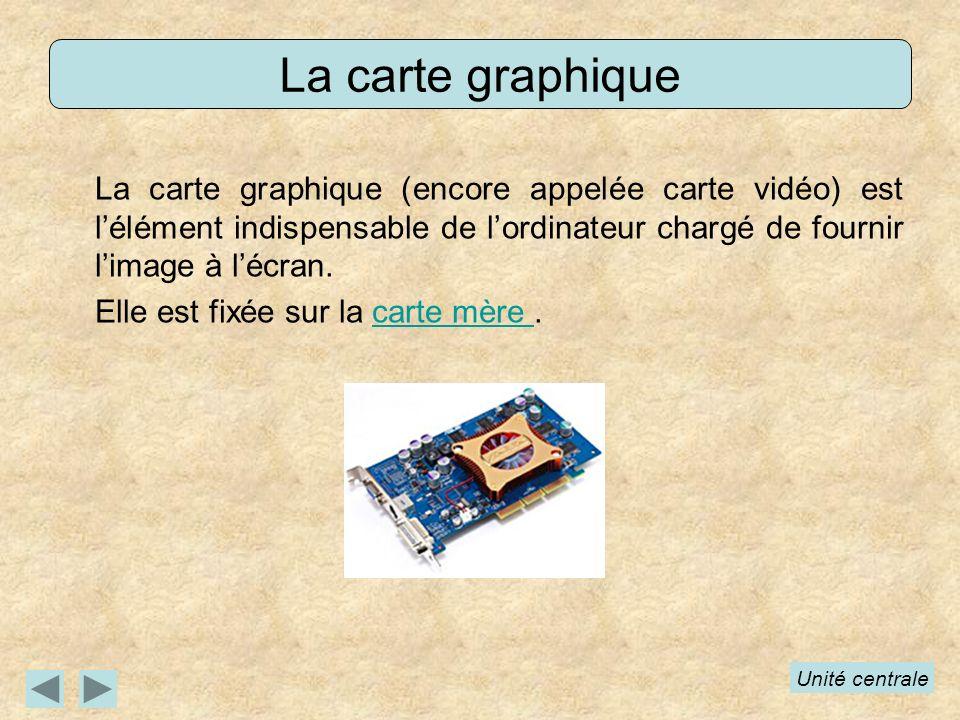 La carte graphique (encore appelée carte vidéo) est lélément indispensable de lordinateur chargé de fournir limage à lécran. Elle est fixée sur la car