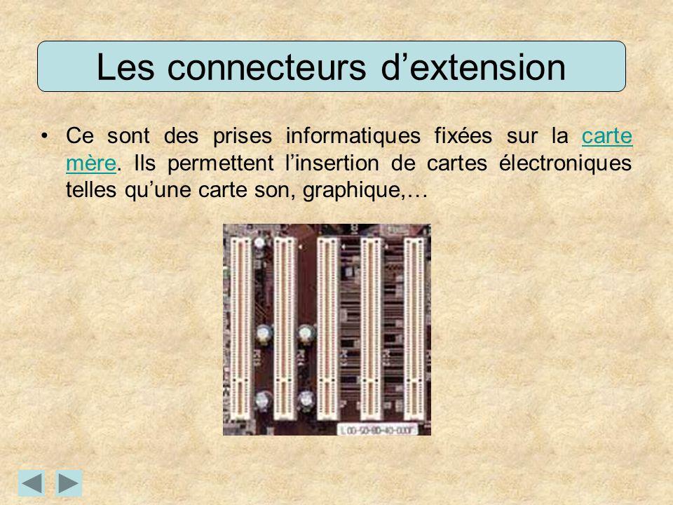 Les connecteurs dextension Ce sont des prises informatiques fixées sur la carte mère. Ils permettent linsertion de cartes électroniques telles quune c