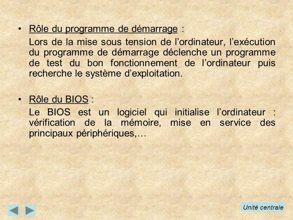 Rôle du programme de démarrage : Lors de la mise sous tension de lordinateur, lexécution du programme de démarrage déclenche un programme de test du b
