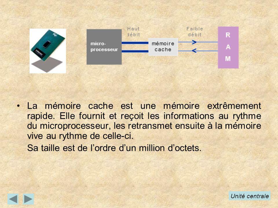 La mémoire cache est une mémoire extrêmement rapide. Elle fournit et reçoit les informations au rythme du microprocesseur, les retransmet ensuite à la