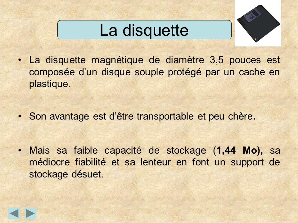 La disquette La disquette magnétique de diamètre 3,5 pouces est composée dun disque souple protégé par un cache en plastique. Son avantage est dêtre t