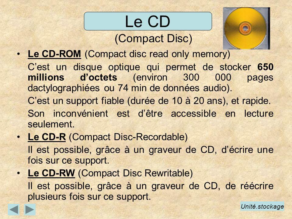 Le CD-ROM (Compact disc read only memory) Cest un disque optique qui permet de stocker 650 millions doctets (environ 300 000 pages dactylographiées ou 74 min de données audio).