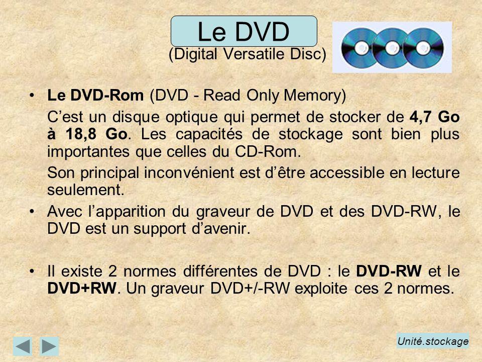 Le DVD (Digital Versatile Disc) Le DVD-Rom (DVD - Read Only Memory) Cest un disque optique qui permet de stocker de 4,7 Go à 18,8 Go. Les capacités de
