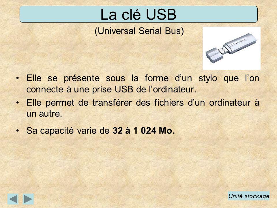 La clé USB (Universal Serial Bus) Elle se présente sous la forme dun stylo que lon connecte à une prise USB de lordinateur. Elle permet de transférer