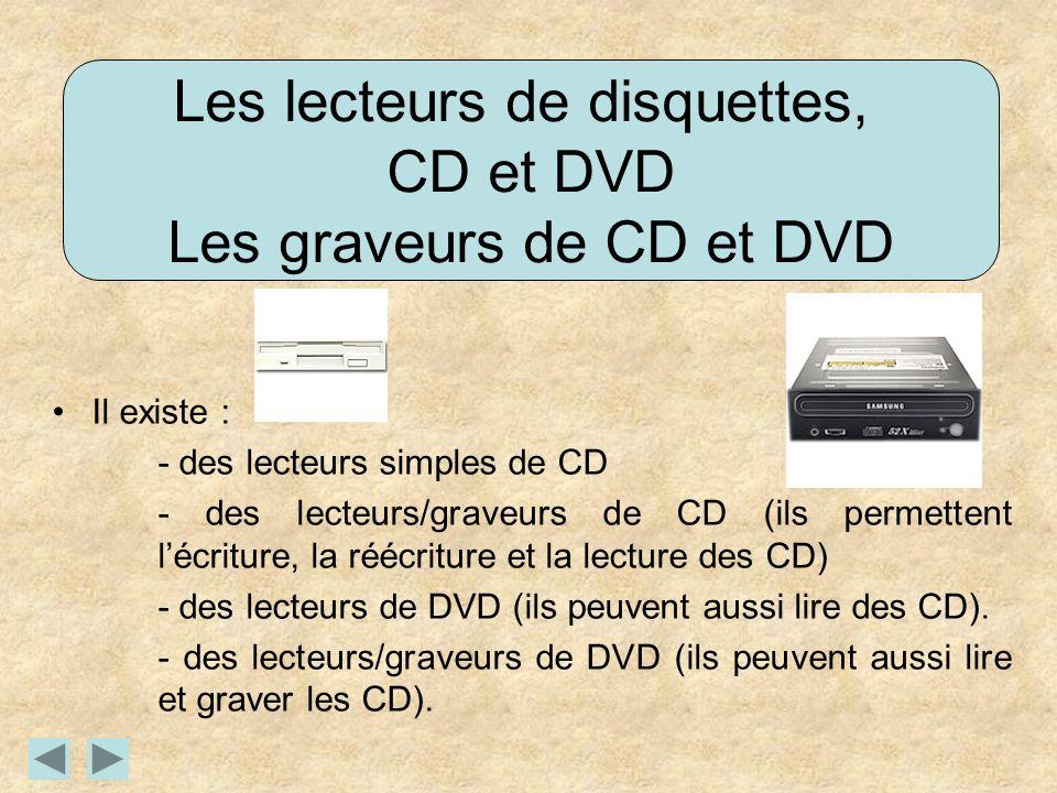 Les lecteurs de disquettes, CD et DVD Les graveurs de CD et DVD Il existe : - des lecteurs simples de CD - des lecteurs/graveurs de CD (ils permettent lécriture, la réécriture et la lecture des CD) - des lecteurs de DVD (ils peuvent aussi lire des CD).