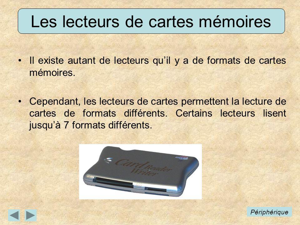 Les lecteurs de cartes mémoires Il existe autant de lecteurs quil y a de formats de cartes mémoires. Cependant, les lecteurs de cartes permettent la l