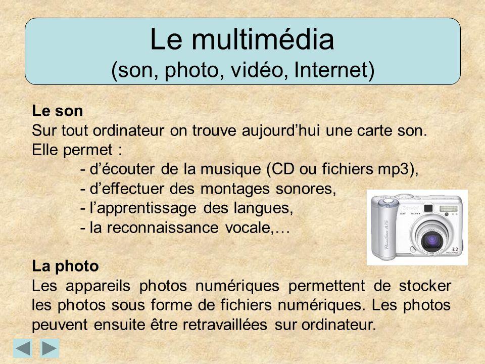 Le multimédia (son, photo, vidéo, Internet) Le son Sur tout ordinateur on trouve aujourdhui une carte son. Elle permet : - découter de la musique (CD