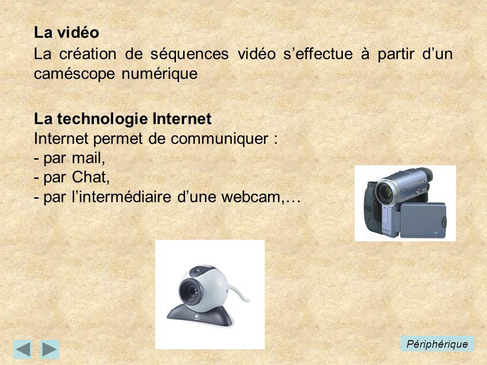 Périphérique La vidéo La création de séquences vidéo seffectue à partir dun caméscope numérique La technologie Internet Internet permet de communiquer : - par mail, - par Chat, - par lintermédiaire dune webcam,…