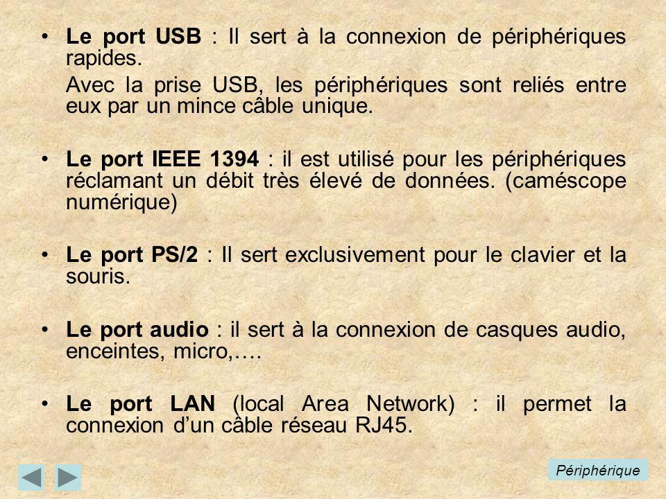 Le port USB : Il sert à la connexion de périphériques rapides. Avec la prise USB, les périphériques sont reliés entre eux par un mince câble unique. L