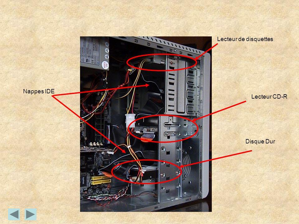 Lecteur de disquettes Lecteur CD-R Disque Dur Nappes IDE