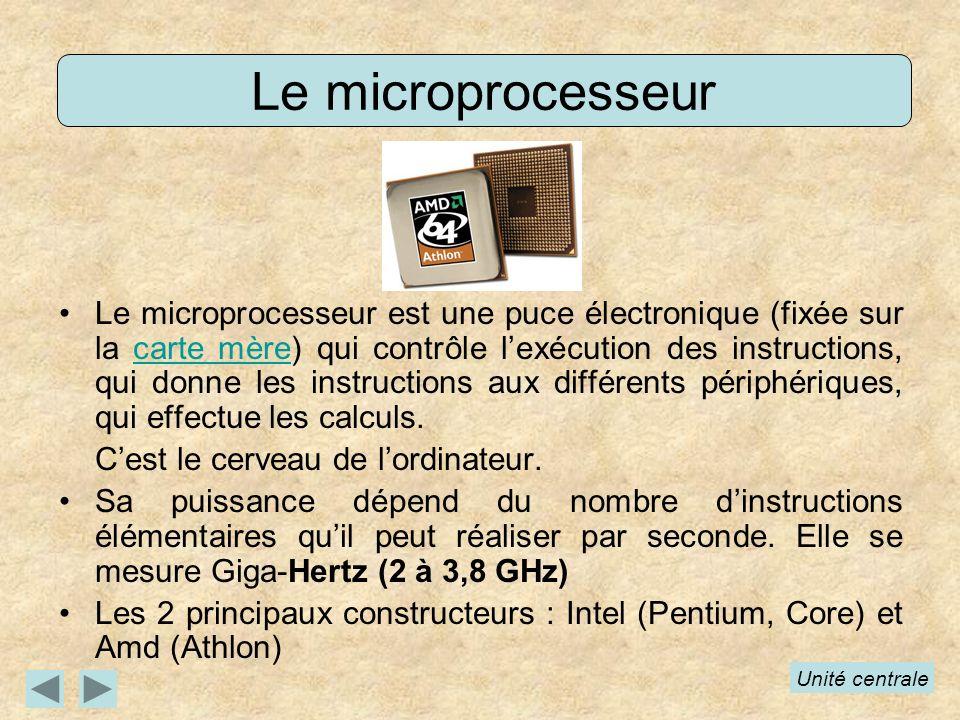 Le microprocesseur Le microprocesseur est une puce électronique (fixée sur la carte mère) qui contrôle lexécution des instructions, qui donne les instructions aux différents périphériques, qui effectue les calculs.carte mère Cest le cerveau de lordinateur.