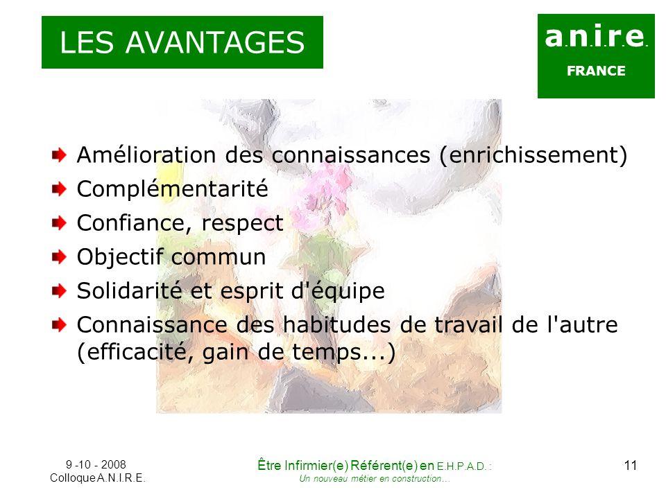 a. n. i. r. e. FRANCE LES AVANTAGES Amélioration des connaissances (enrichissement) Complémentarité Confiance, respect Objectif commun Solidarité et e