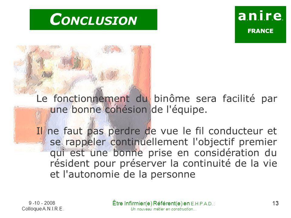 a. n. i. r. e. FRANCE C ONCLUSION Le fonctionnement du binôme sera facilité par une bonne cohésion de l'équipe. Il ne faut pas perdre de vue le fil co