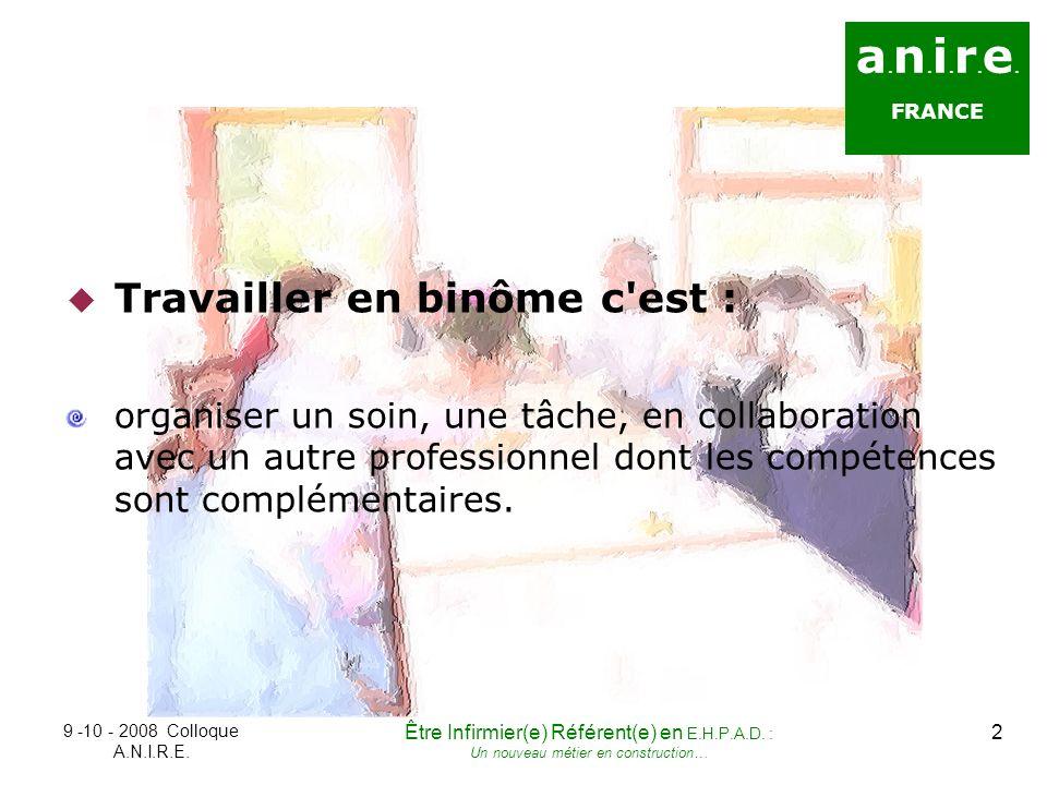 a. n. i. r. e. FRANCE Travailler en binôme c'est : organiser un soin, une tâche, en collaboration avec un autre professionnel dont les compétences son