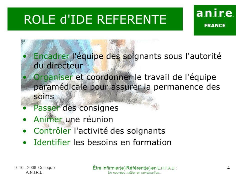 a. n. i. r. e. FRANCE ROLE d'IDE REFERENTE Encadrer l'équipe des soignants sous l'autorité du directeur Organiser et coordonner le travail de l'équipe