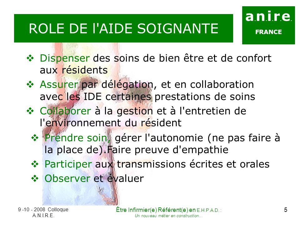 a. n. i. r. e. FRANCE ROLE DE l'AIDE SOIGNANTE Dispenser des soins de bien être et de confort aux résidents Assurer par délégation, et en collaboratio