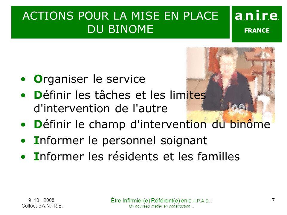 a. n. i. r. e. FRANCE ACTIONS POUR LA MISE EN PLACE DU BINOME 9 -10 - 2008 Colloque A.N.I.R.E. 7Être Infirmier(e) Référent(e) en E.H.P.A.D. : Un nouve