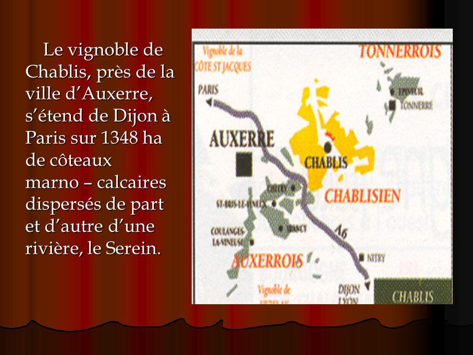 Le vignoble de Chablis, près de la ville dAuxerre, sétend de Dijon à Paris sur 1348 ha de côteaux marno – calcaires dispersés de part et dautre dune r