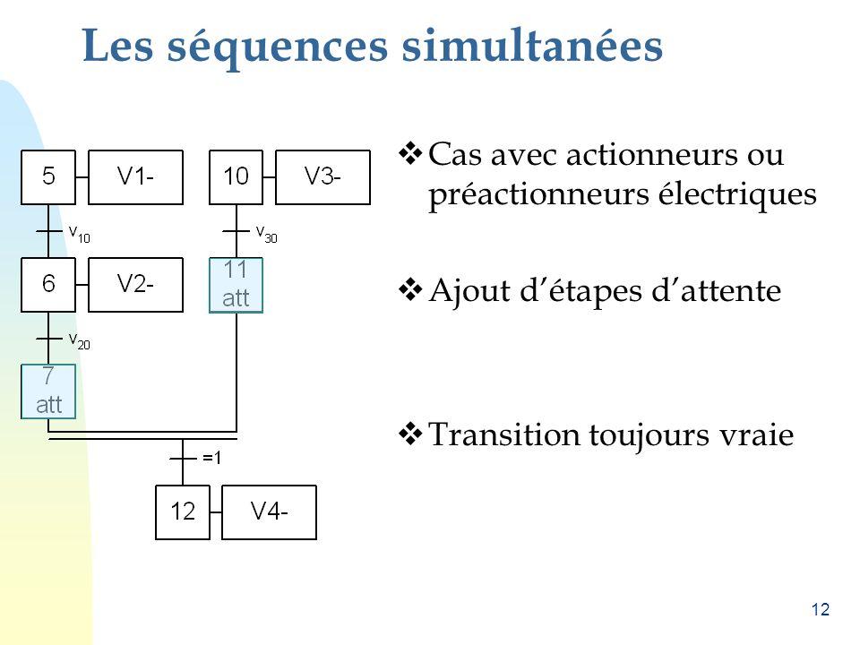 11 Les séquences simultanées Une seule condition de démarrage. m h1 b1 h2 b2 W1W2 V1V2