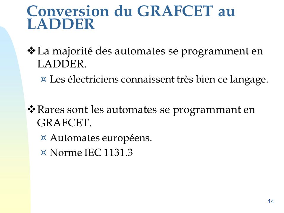 Programmation dun GRAFCET dans un API (traduction en LADDER)