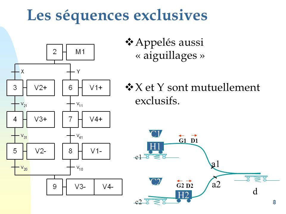 8 Les séquences exclusives Appelés aussi « aiguillages » X et Y sont mutuellement exclusifs.