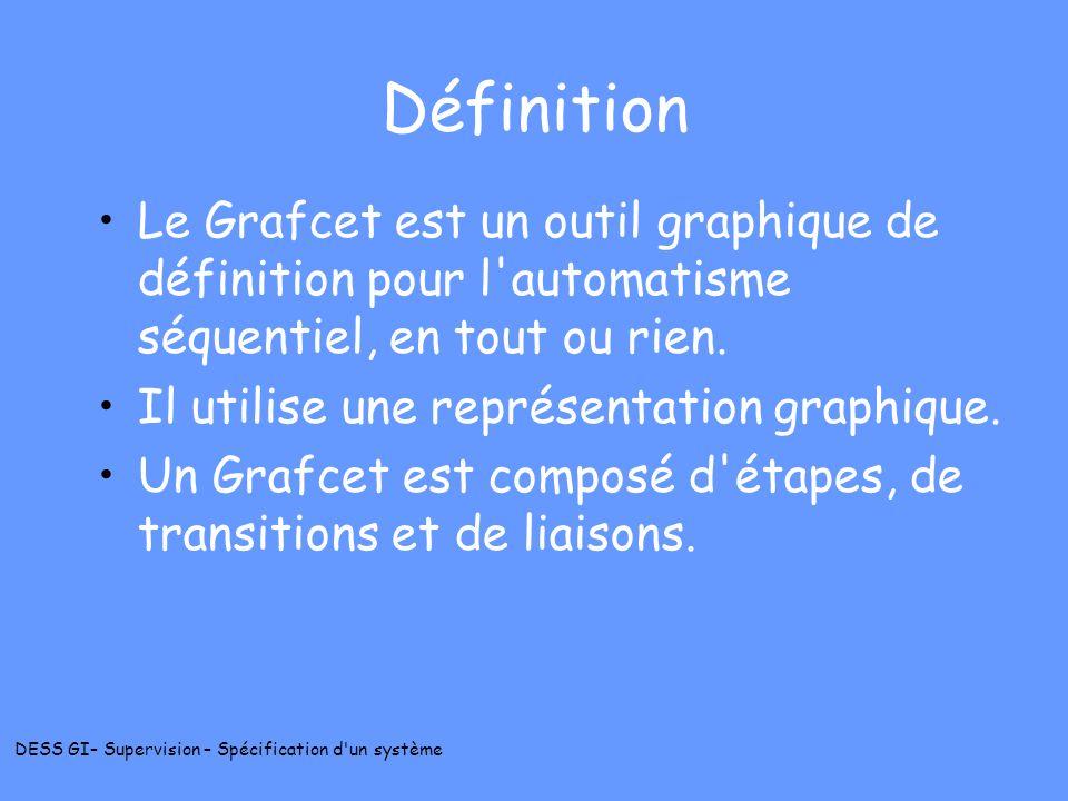 DESS GI– Supervision – Spécification d'un système Définition Le Grafcet est un outil graphique de définition pour l'automatisme séquentiel, en tout ou