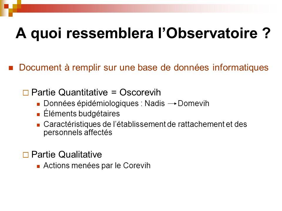 Document à remplir sur une base de données informatiques Partie Quantitative = Oscorevih Données épidémiologiques : Nadis Domevih Éléments budgétaires