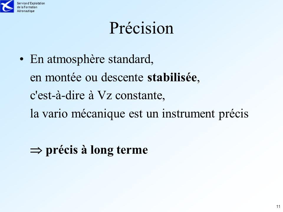 Service dExploitation de la Formation Aéronautique 11 Précision En atmosphère standard, en montée ou descente stabilisée, c'est-à-dire à Vz constante,