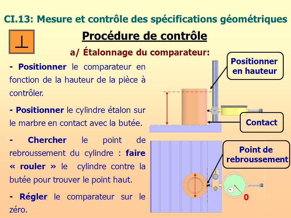 CI.13: Mesure et contrôle des spécifications géométriques Procédure de contrôle a/ Étalonnage du comparateur: - Positionner le comparateur en fonction