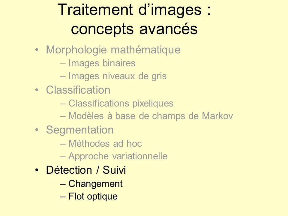 Traitement dimages : concepts avancés Morphologie mathématique – Images binaires – Images niveaux de gris Classification – Classifications pixeliques