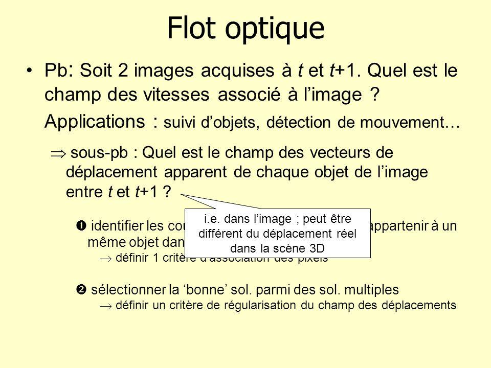 Flot optique Pb : Soit 2 images acquises à t et t+1. Quel est le champ des vitesses associé à limage ? Applications : suivi dobjets, détection de mouv