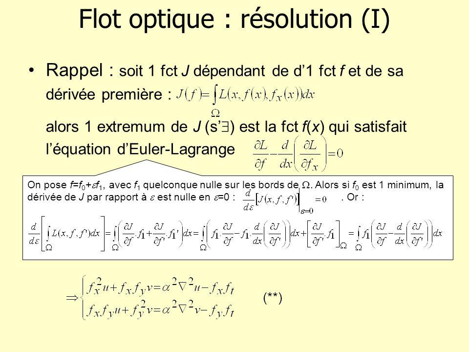 Flot optique : résolution (I) Rappel : soit 1 fct J dépendant de d1 fct f et de sa dérivée première : alors 1 extremum de J (s ) est la fct f(x) qui s