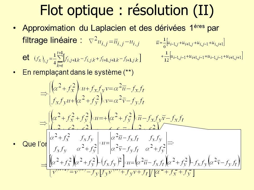 Flot optique : résolution (II) Approximation du Laplacien et des dérivées 1 ères par filtrage linéaire : et En remplaçant dans le système (**) Que lon