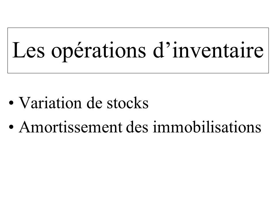 Les opérations dinventaire Variation de stocks Amortissement des immobilisations