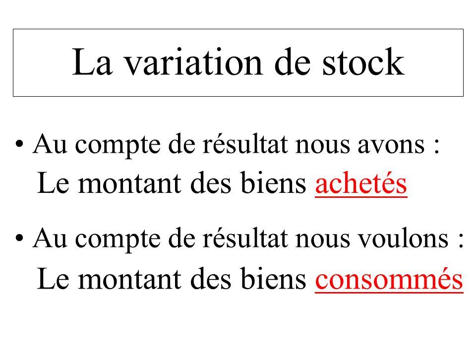 La variation de stock Au compte de résultat nous avons : Au compte de résultat nous voulons : Le montant des biens achetés Le montant des biens consom