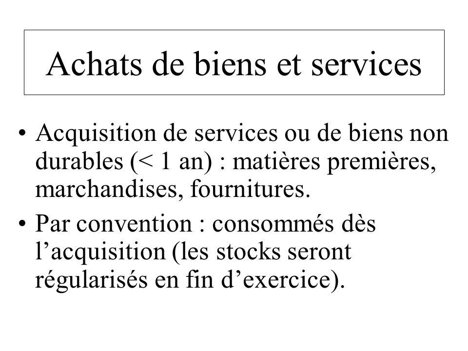 Achats de biens et services Acquisition de services ou de biens non durables (< 1 an) : matières premières, marchandises, fournitures. Par convention