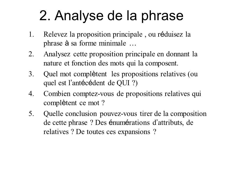 2. Analyse de la phrase 1.Relevez la proposition principale, ou r é duisez la phrase à sa forme minimale … 2. Analysez cette proposition principale en