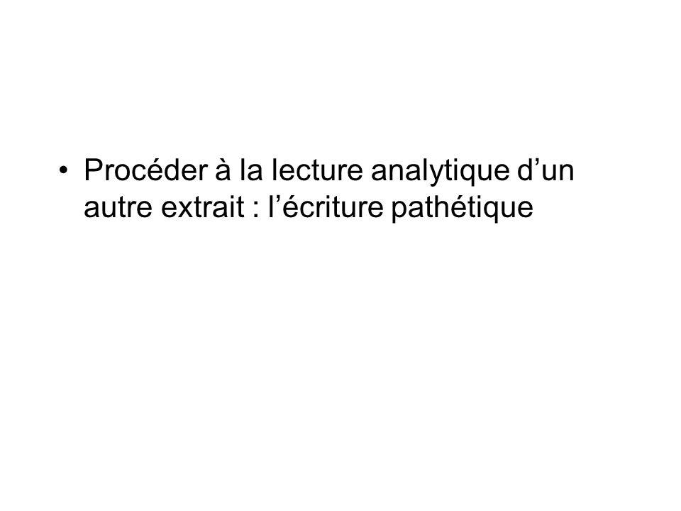 Procéder à la lecture analytique dun autre extrait : lécriture pathétique