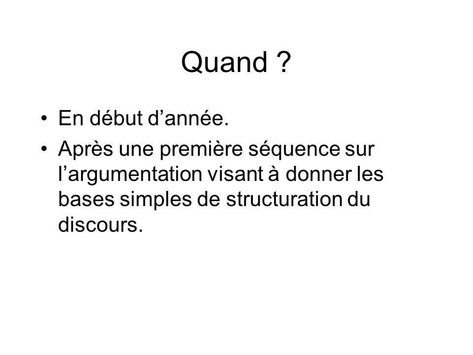 Quand ? En début dannée. Après une première séquence sur largumentation visant à donner les bases simples de structuration du discours.