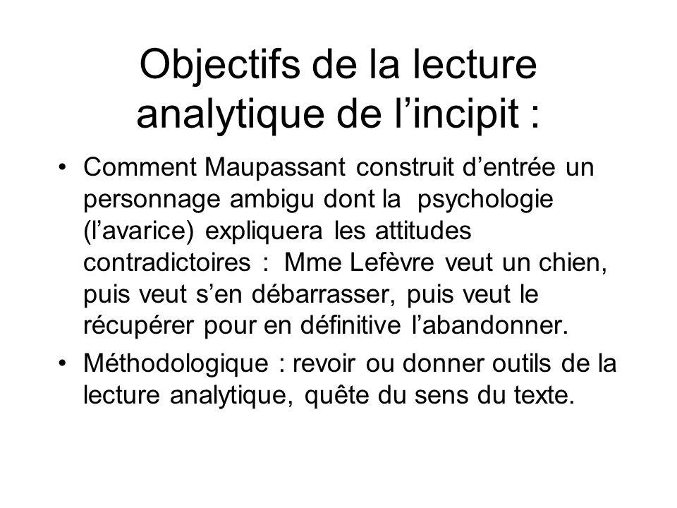 Objectifs de la lecture analytique de lincipit : Comment Maupassant construit dentrée un personnage ambigu dont la psychologie (lavarice) expliquera l